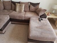Corner sofa in brown cord and faux leather