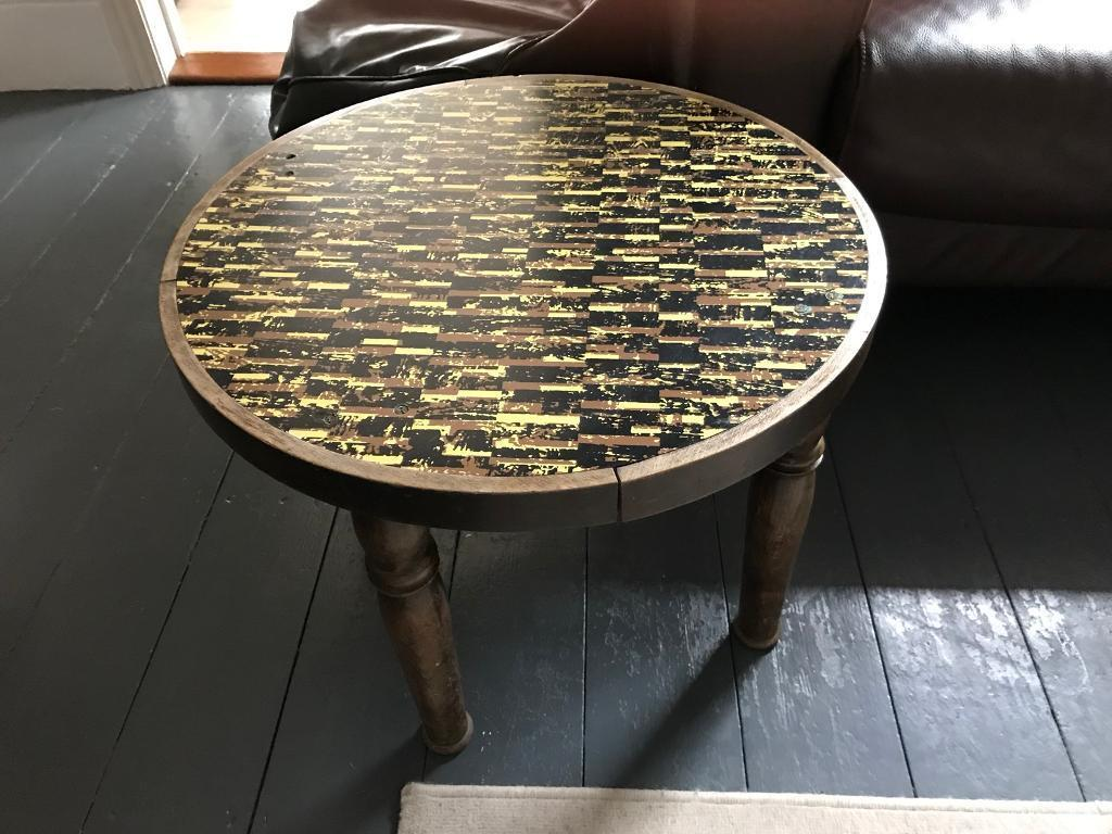Round Retro Coffee Table With Wooden Legs In Bournemouth