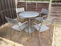 Silver metal table and 4 chairs