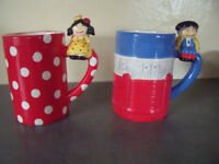 Unused 2 Madrid novelty mugs flamenco dancer and matador characters. £2.50 the pair.