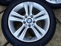 "GENUINE BMW 17"" ALLOY WHEEL AND CONTINENTAL TYRE STYLE 392 HARDLY USED F30 F31"