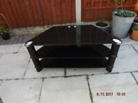 LARGE BLACK GLASS TV STAND / CHROME LEGS