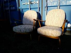 Pair of lovely vintage Ercol Windsor low easy armchairs 203. UK delivery