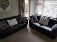 x2 3 seater real leather sofas not arm chair, fabric, corner sofa