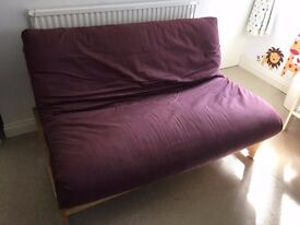 Double Futon, fold out, wooden frame, good condition, second bed, 2 seater sofa bed very comfy