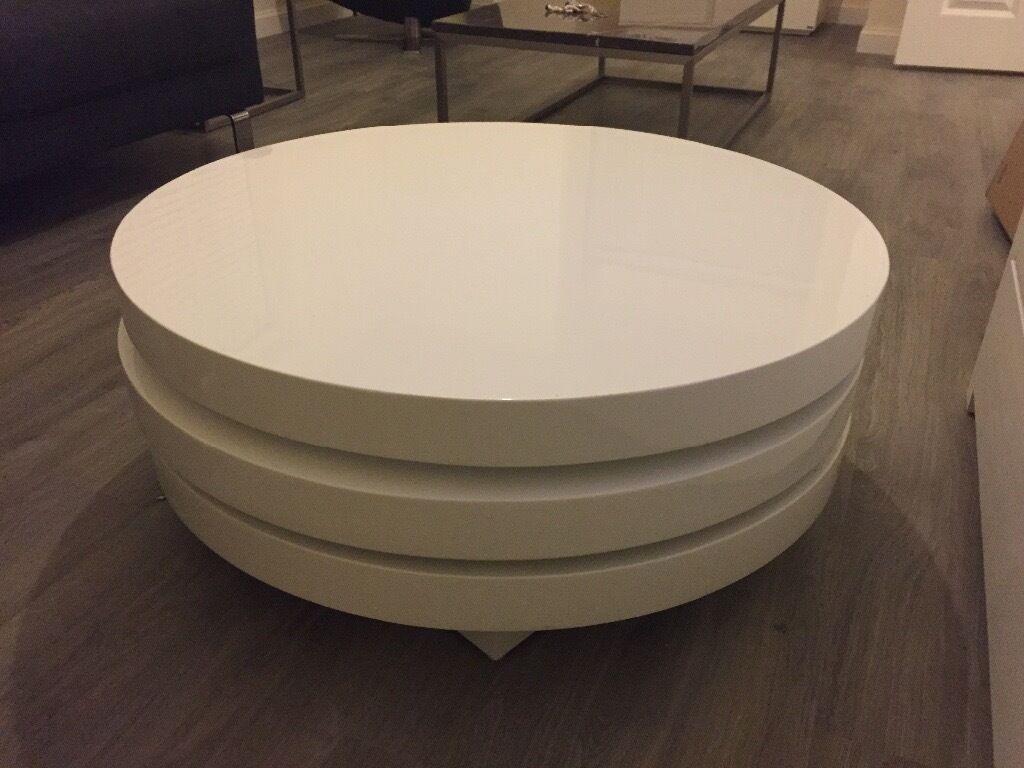 Dwell White Gloss Triplo Swivel Round Coffee Table