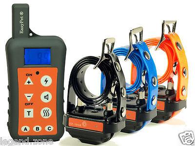 1300 Yard Waterproof 3 Dog Remote Training Shock Collar No Bark Hunting Trainer