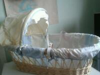 Cute Wicker Moses Basket with Leather Handles