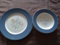 Vintage Grindlay fine bone china dinner plate and 3 soup bowls