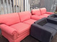 X2 sofas 2 aeater large in Orange fire safety taged