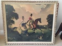 Framed painting by Doris Zinkeisen of two horses and riders (print)
