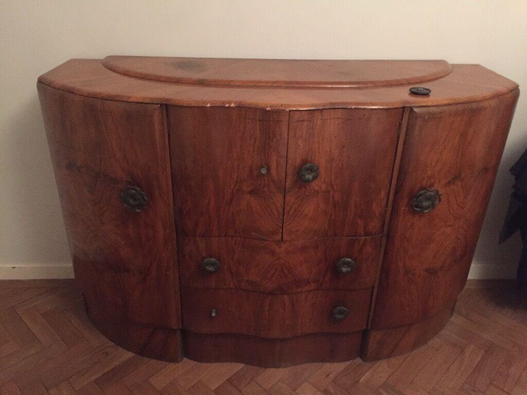 Walnut wood drinks cabinet