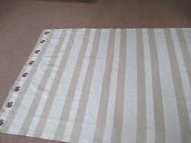 2 Pairs of Natural Rib Stripe Curtains