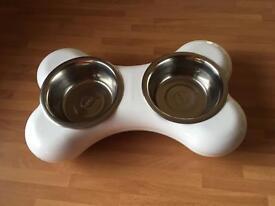Hing Dog Bowls Bone Shape White