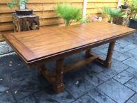 Superb, Large Oak Extending Dining Table, Brand New