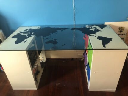 World map desk glass home garden gumtree australia free local glass top desk and storage units gumiabroncs Gallery