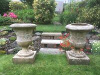 Pair of Antique stone garden urns
