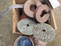 Box of abrasive wheels sander belts etc