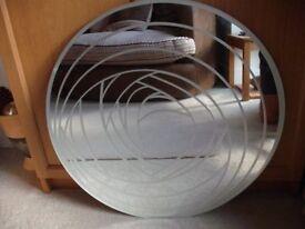 """CIRCULAR UNFRAMED ETCHED RANDOM SWIRL MIRROR - 60cm [2'-0""""] DIA"""