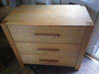 Oak Chest of Drawers modern 3 drawers, hardly had any use. Macclesfield area.