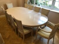 Wood Curved Dining Table + 10 Dining Chairs
