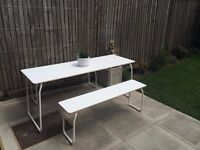 IKEA PS 2014 - in/outdoor folding dining table and 2 benches, for collection in Lower Clapton