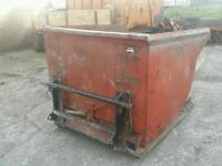 Forklift tipping skip fitted with chilton tractor loader brackets