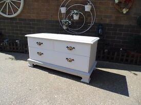 G-PLAN TV STAND PAINTED WITH LAURA ASHLEY PALE DOVE GREY AND FRENCH GREY STUNNING UNIT