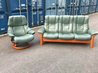 Immaculate Condition Ekornes Stressless Suite -Green -Possible Delivery