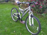 "Gents Front and Rear suspension Mountain Bike, 26"" Alloy wheels. 18"" Frame, 18 shimano gears"
