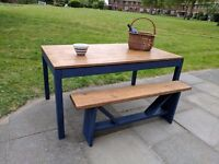 Rustic farmhouse kitchen /dining table & handcrafted bench. Dark blue shabby chic.
