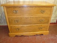 Vintage Chest Of 3 Drawers With Brass Handles.