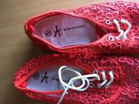 Red lace size 8 shoes