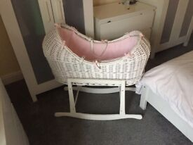 Noah's pod, white with pink lining, brand new mattress included