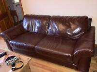 3+2 seater dark brown leather sofas