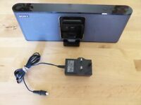 Sony Portable Speaker Dock RDP-M15iP Apple iPhone 30-pin/Audio-In Mains+Battery *VGC*