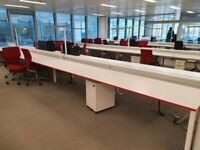 Extra large White 8-pod office/business bench hot desks/tables (180cm x 80cm each)