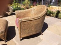 VINTAGE Real Rattan 2 x Armchairs & 2 foot stools - tan / black with blue/red cushions Bamboo frame
