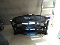 black glass oval tv table