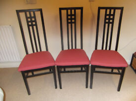 Chairs, dining x 3.