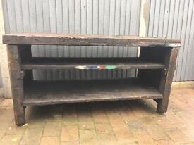 Vintage industrial wood wooden work bench kitchen island shop counter prop