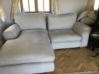 Sofa in three attachable parts 4m in length with recliner. And Sep arm chair