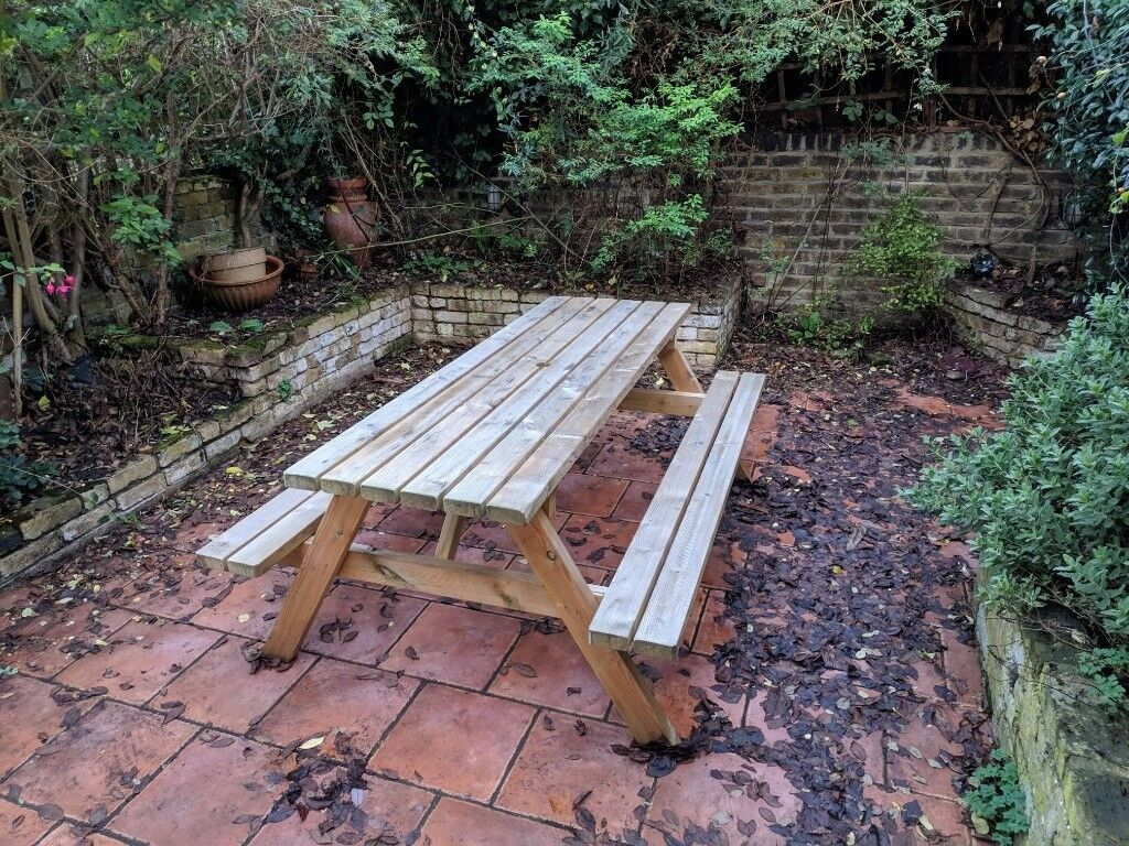 8 Seater Outdoor Pub Bench Garden Weatherproof Wooden Picnic