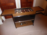 Hostess trolley with original 'Hostess' glass serving dishes with lids. In excellent condition..