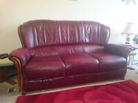 Leather 3 piece suite. Sofa + 2 chairs