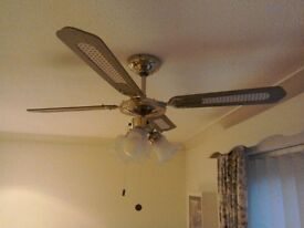 2 ceiling lights and fan.