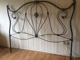 Ornate steel bed headboard