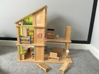 Wooden Dolls house - With Matching Wooden Furniture - Very Good Condition.
