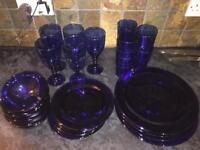 Blue Glass dinner set