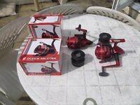 TWO New/Unused Boxed Preloaded Lineaeffe 'Ocean Master' Fixed Spool Reels with Spare Spools